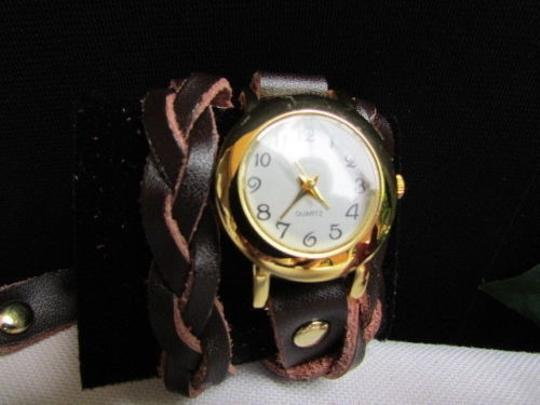 Other Women Gold Watch Faux Leather Dark Brown Fashion Bracelet Image 2