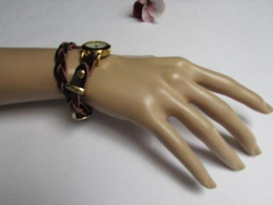 Other Women Gold Watch Faux Leather Dark Brown Fashion Bracelet Image 3