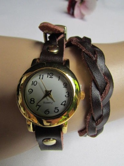 Other Women Gold Watch Faux Leather Dark Brown Fashion Bracelet Image 4