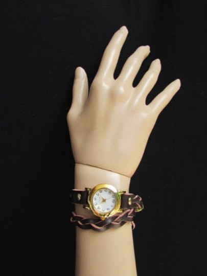 Other Women Gold Watch Faux Leather Dark Brown Fashion Bracelet Image 5