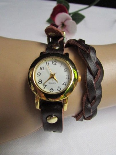 Other Women Gold Watch Faux Leather Dark Brown Fashion Bracelet Image 6