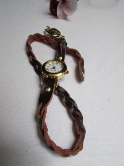 Other Women Gold Watch Faux Leather Dark Brown Fashion Bracelet Image 7