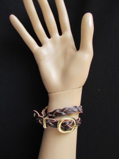 Other Women Gold Watch Faux Leather Dark Brown Fashion Bracelet Image 8