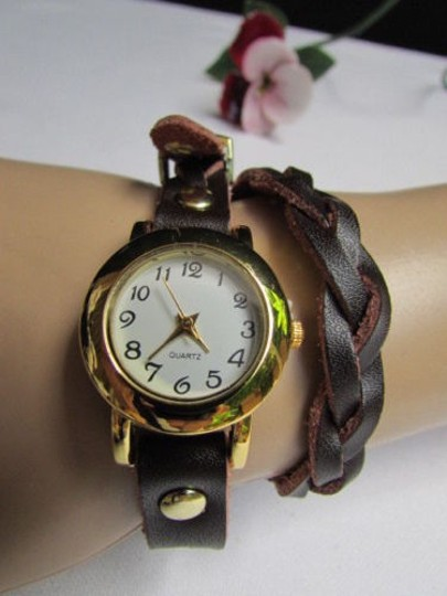 Other Women Gold Watch Faux Leather Dark Brown Fashion Bracelet Image 9