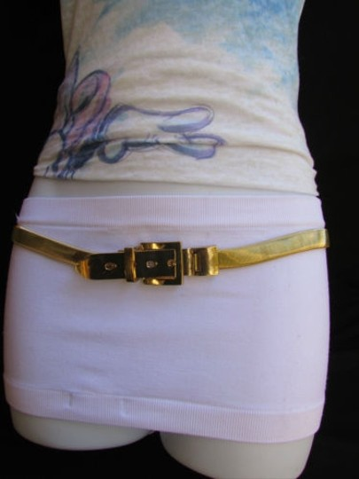 Other Women Trendy Hip Waist Thin Gold Metal Fashion Belt Big Buckle