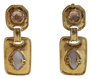 Chanel Gold Tone Drop Earrings with Clear and White Gripoix