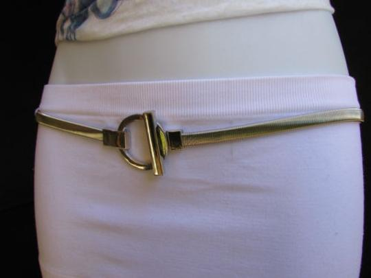 Other Women Hip Thin Silver Metal Elastic Fashion Belt Round Buckle
