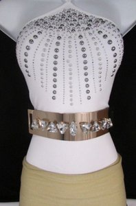 Women Gold Metal Plate Fahion Belt Hip High Waist Elastic Big Silver Beads