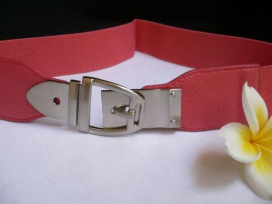 Other Women Elastic Hip High Waist Coral Thin Belt Silver Buckle 25-37