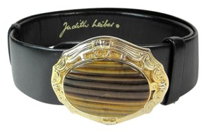 Judith Leiber Black, Leather & Gold Metal Buckle, Belt fits 24