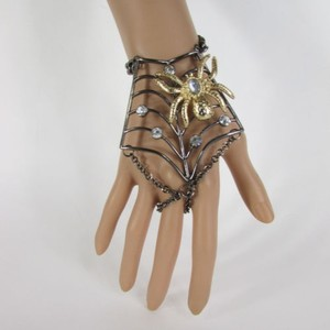 Other Women Black Metal Hand Chains Slave Ring Fashion Bracelet Gold Spider Net