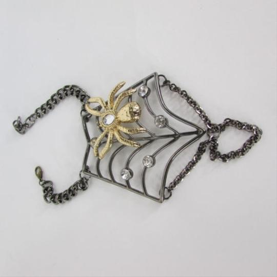 Other Women Black Metal Hand Chains Slave Ring Gold Spider Net