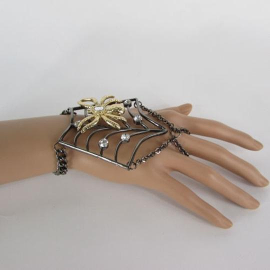 Other Women Black Metal Hand Chains Slave Ring Gold Spider Net Image 2