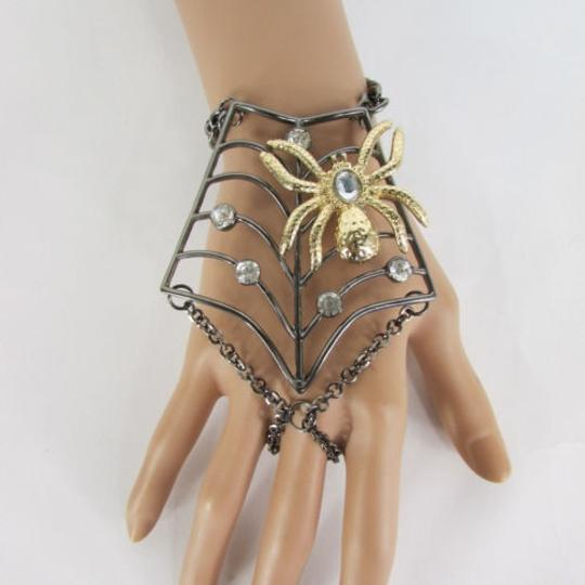 Other Women Black Metal Hand Chains Slave Ring Gold Spider Net Image 3
