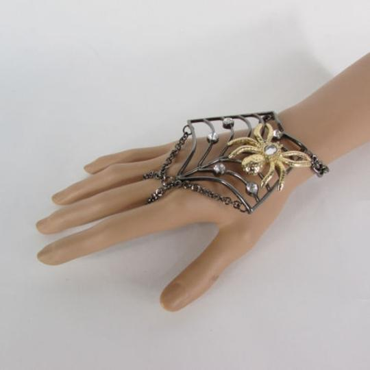 Other Women Black Metal Hand Chains Slave Ring Gold Spider Net Image 5
