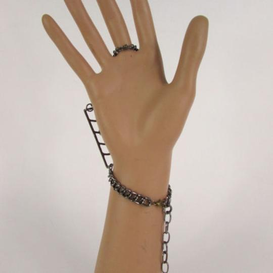 Other Women Black Metal Hand Chains Slave Ring Gold Spider Net Image 6