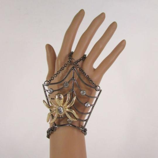 Other Women Black Metal Hand Chains Slave Ring Gold Spider Net Image 9