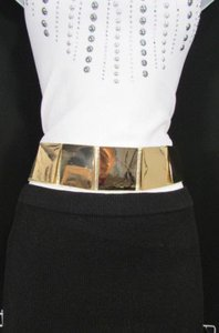 Women Gold Metal Squares Plate Fahion Belt Hip High Waist Elastic 28-34