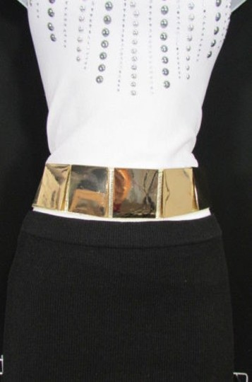 Other Women Gold Metal Squares Plate Belt High Waist Elastic 28-34 Image 0