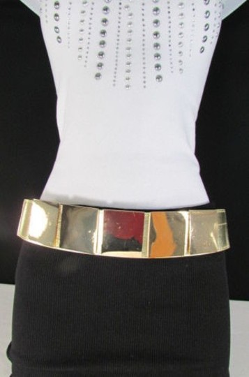 Other Women Gold Metal Squares Plate Belt High Waist Elastic 28-34 Image 10