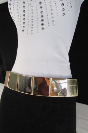 Other Women Gold Metal Squares Plate Belt High Waist Elastic 28-34 Image 4