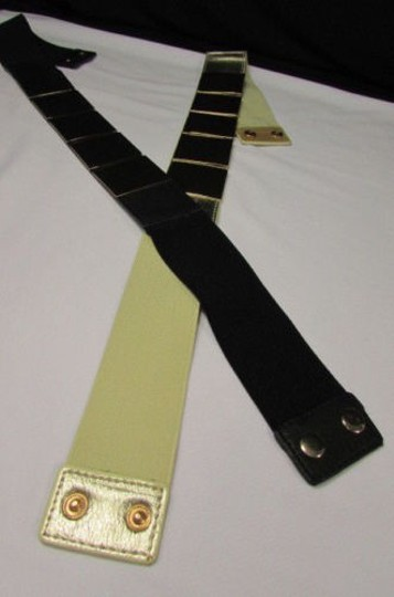 Other Women Gold Metal Squares Plate Belt High Waist Elastic 28-34