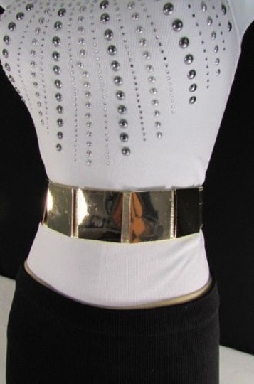 Other Women Gold Metal Squares Plate Belt High Waist Elastic 28-34 Image 8