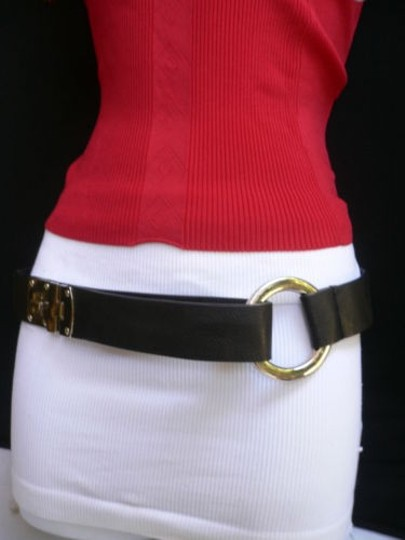 Other Women Hip Elastic Black Fashion Belt Silver Metal Round Buckles 29-35