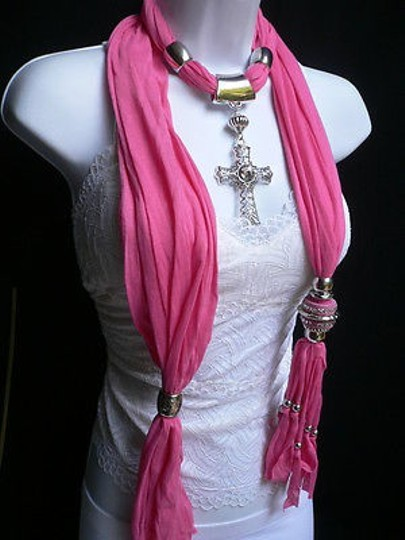 Other Women Pink Fabric Scarf Necklace Silver Rhinestones Cross Pendant Morrocan