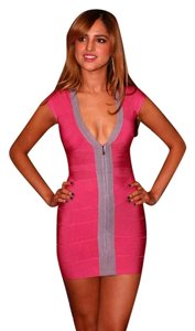 Herv Leger Sexy Fitted V-neck Mini Dress
