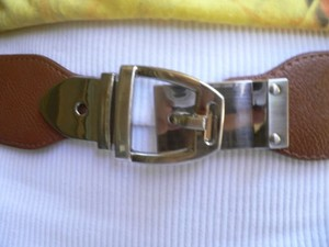 Other Women Elastic Hip High Waist Brown Thin Belt Silver Buckle 25-37 Xs-l