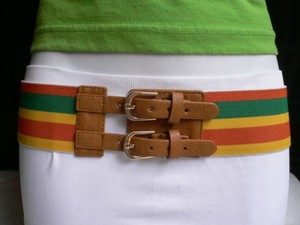 Women Elastic Orange Yellow Green Tropical Belt Double Buckle 27-42 Xs-xl