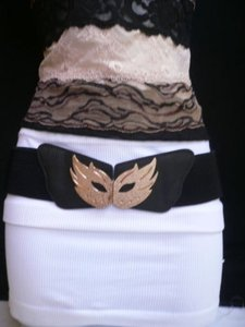 Other Women Hip Waist Elastic Black Belt Gold Carnival Mask Halloween 27-36