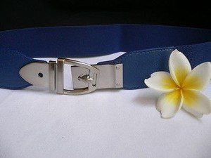 Women Elastic Hip High Waist Blue Thin Belt Silver Buckle 25-37