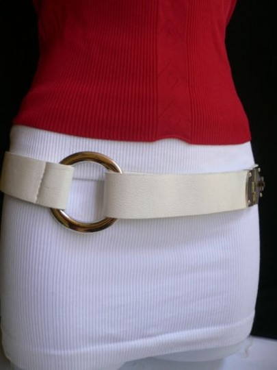 Other Women Hip Waist White Fashion Belt Silver Metal Round Buckles 29-35