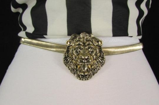 Other N Women Hip Waist Gold Elastic Metal Lion Head Narrow Fashion Belt 25-40