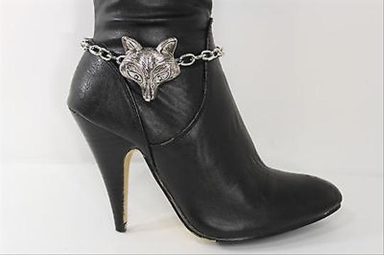 Other Women Fashion Jewelry Boot Bracelet Silver Metal Chain Fox Head Animal Charm