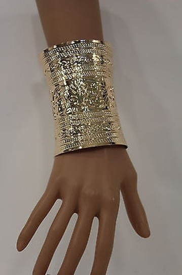 Other Women Wide Cuff Gold Fashion Bracelet Leafs Adjustable Colonial Light Metal Image 4