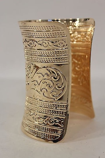 Other Women Wide Cuff Gold Fashion Bracelet Leafs Adjustable Colonial Light Metal Image 5