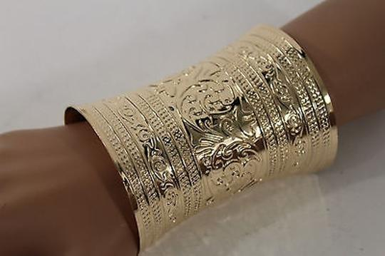 Other Women Wide Cuff Gold Fashion Bracelet Leafs Adjustable Colonial Light Metal Image 6