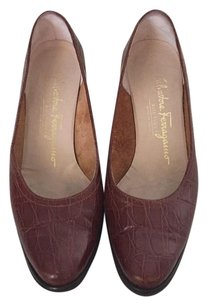 Salvatore Ferragamo Brown leather. Wedges