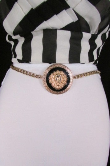 Other Women Fashion Gold Black Metal Chains Belt Lion Head Hip Waist 25-37
