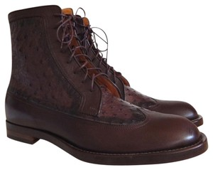Gucci Men Ostrich Lace-up Brown Boots