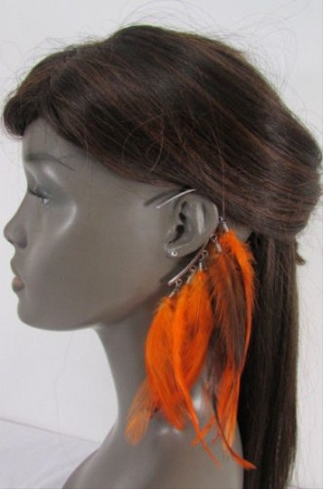 Other Women Metal Cuff One Earring Pink Orange Blue White Feathers
