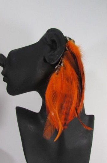 Other Women Metal Cuff One Earring Pink Orange Blue White Feathers Image 1