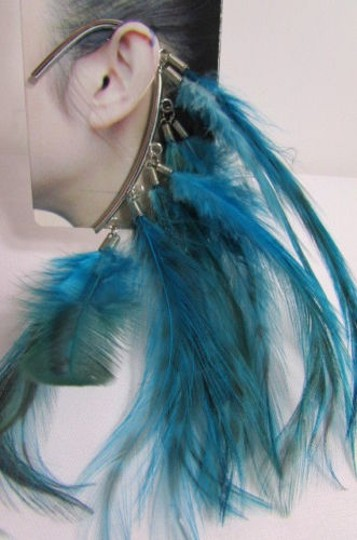 Other Women Metal Cuff One Earring Pink Orange Blue White Feathers Image 2