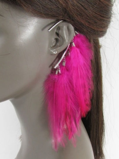 Other Women Metal Cuff One Earring Pink Orange Blue White Feathers Image 3