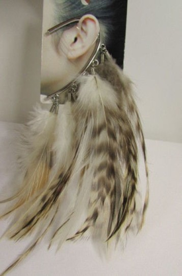 Other Women Metal Cuff One Earring Pink Orange Blue White Feathers Image 4
