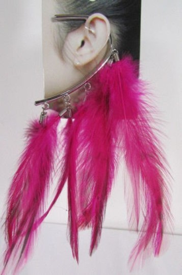 Other Women Metal Cuff One Earring Pink Orange Blue White Feathers Image 6