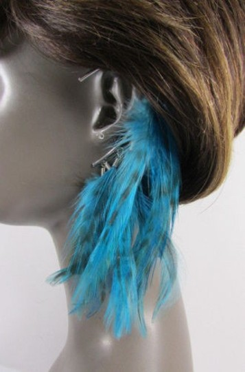 Other Women Metal Cuff One Earring Pink Orange Blue White Feathers Image 7
